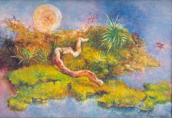 Pełzające życie, 2005. Olej na płótnie, 35 X 50.
