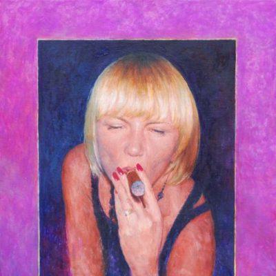 Blondynka z cygarem, 2010. Olej na płótnie, 50 X 40.
