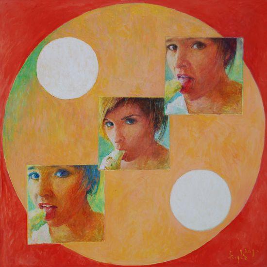 Dwukropek, 2010, technika mieszana na płycie, 60 x 60.