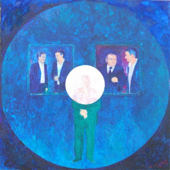 Ego, 2010, Technika mieszana na płycie 60 x 60.