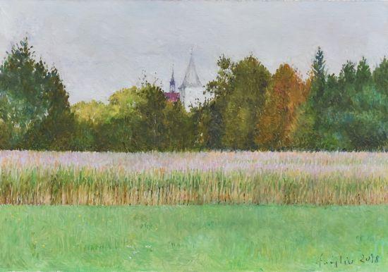 Kościół w Starym Wiśniczu, 2018. Olej na płótnie, 21 X 30.