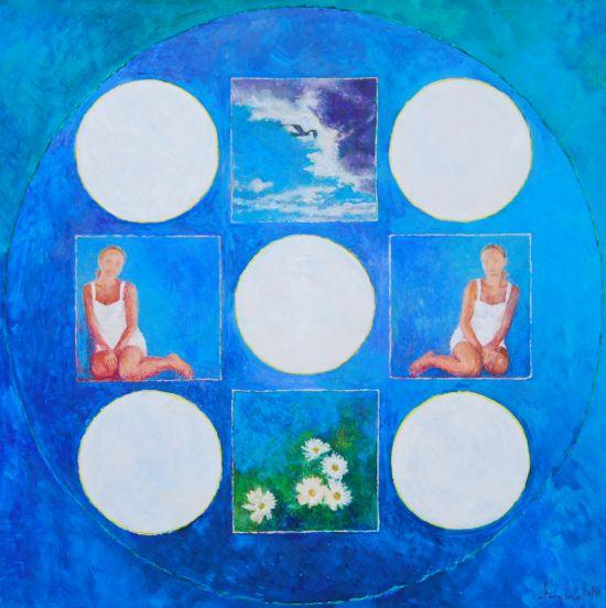 Lipiec, 2010, technika mieszana na płycie, 60 x 60.