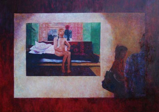 Obrazek z wystawy KK, 2013. Olej na płótnie, 100 X 140.