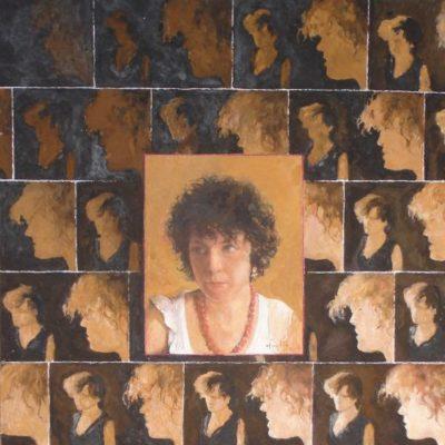 Obserwacja, 2008, technika mieszana na płycie, 60 x 50.