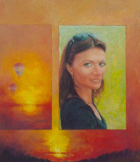 Pani Agata, 2006, technika mieszana na płycie, 60 x 50.