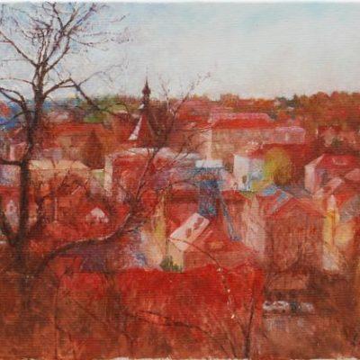 Panorama Bochni, 2016. Olej na płótnie 30 X 40.