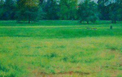 Park w N, 2014, 40x80, olej na płótnie.