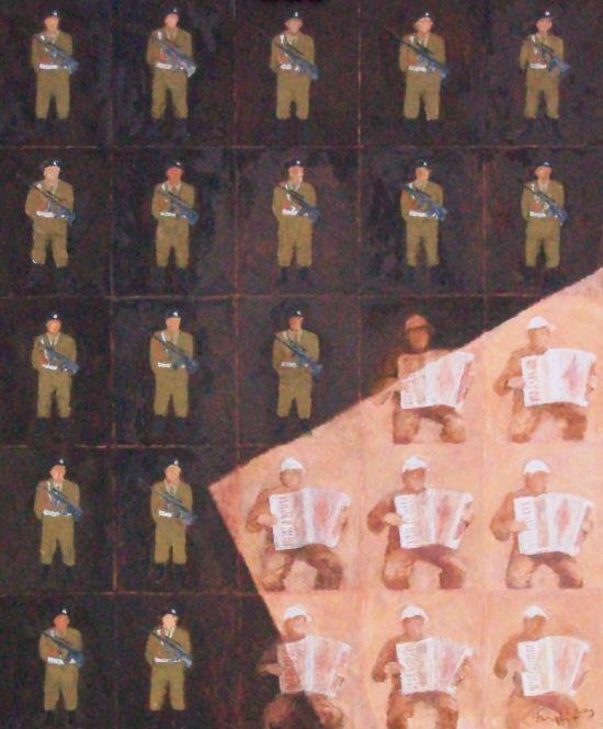 Piękno odmienia, 2008, technika mieszana na płycie, 50 x 60.