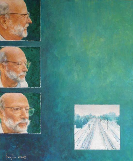 Portret malarza, 2007,  technika mieszana na płycie, 60 x 50.