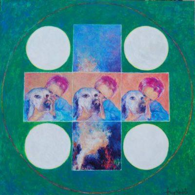 Przyjaźń, 2010, technika mieszana na płycie,60 x 60.