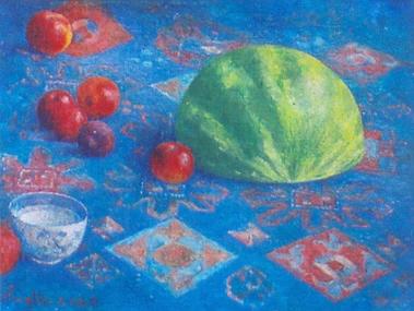 Rajskie jabłuszko, 2005. Olej na płótnie,  31 X 41.