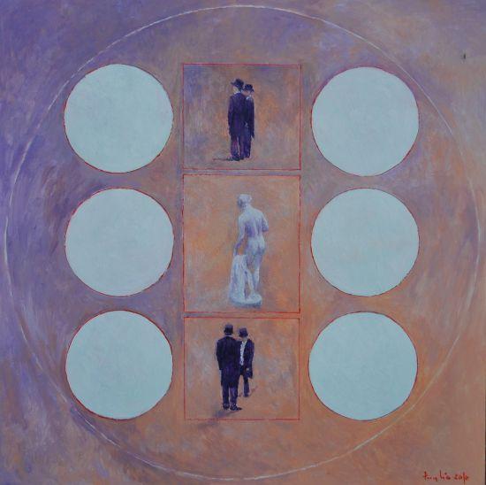 Salon, 2010, Technika mieszana na płycie, 60 x 60.