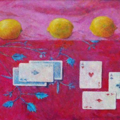 Trzy karty, 2012. Olej na płótnie, 40 X 50.