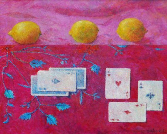 Trzy karty, 2012, 40x50