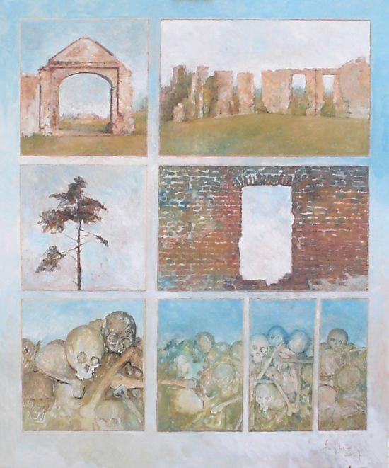 Wspomnienia z przyszłości, 2007, technika mieszana na płycie, 60 x 50.