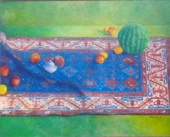 Z arbuzem, 2005. Olej na płótnie, 80 X 100.