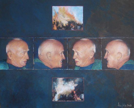 Zapatrzony, 2008, technika mieszana na płycie, 50 x 60.