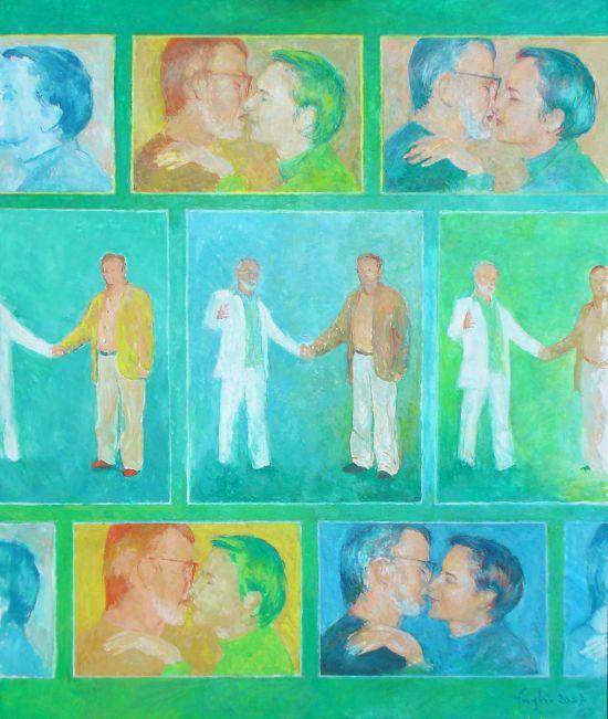 Gesty, 2007, technika mieszana na płycie, 60 x 50.