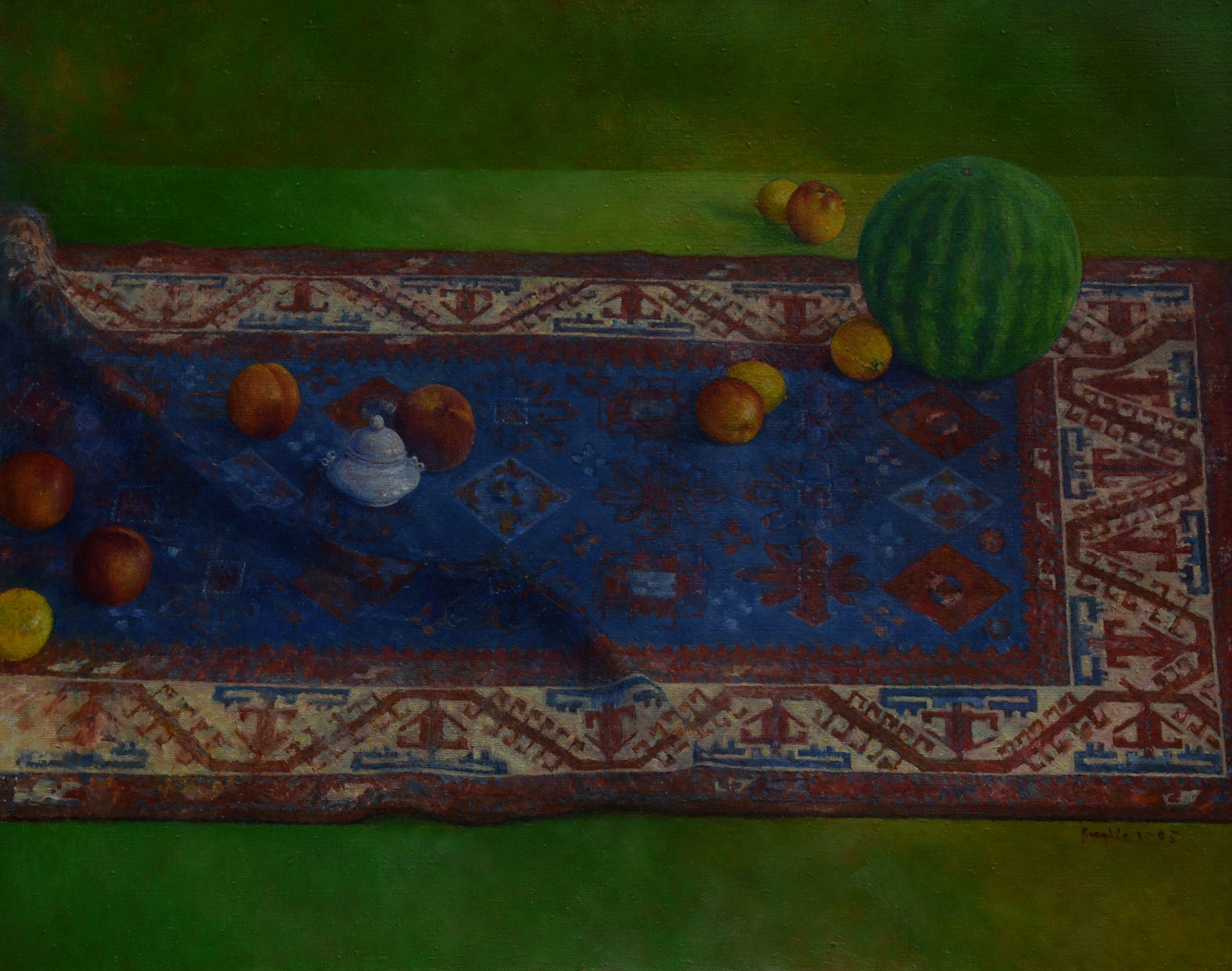Z arbuzem, 2005, olej na płótnie, 80x100